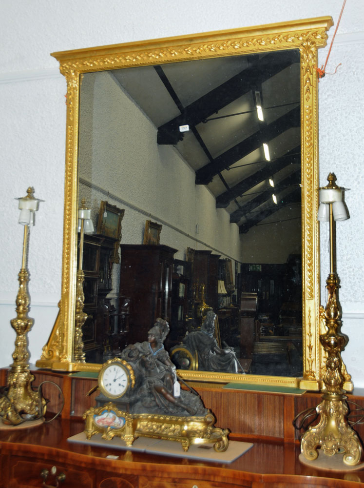 A large late 19th century gilt wood overmantle mirror, with moulded cornice and leaf, - Image 2 of 6