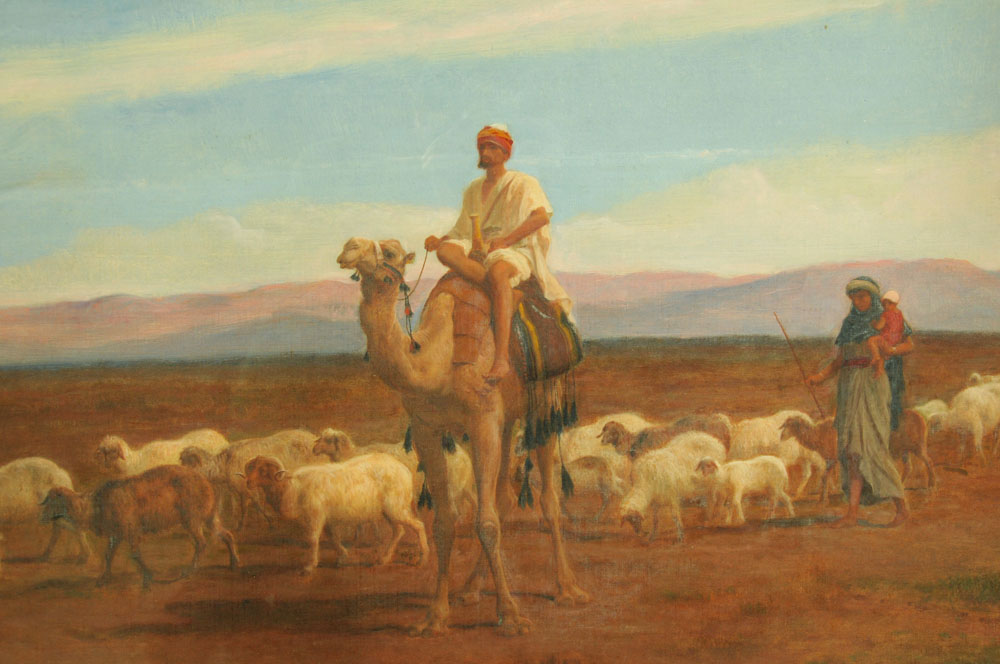"""Frederick Goodall (RA 1822-1904), a large oil painting on canvas """"Changing Pasture"""", - Image 3 of 7"""
