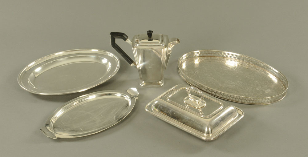 A silver plated oval galleried tray,