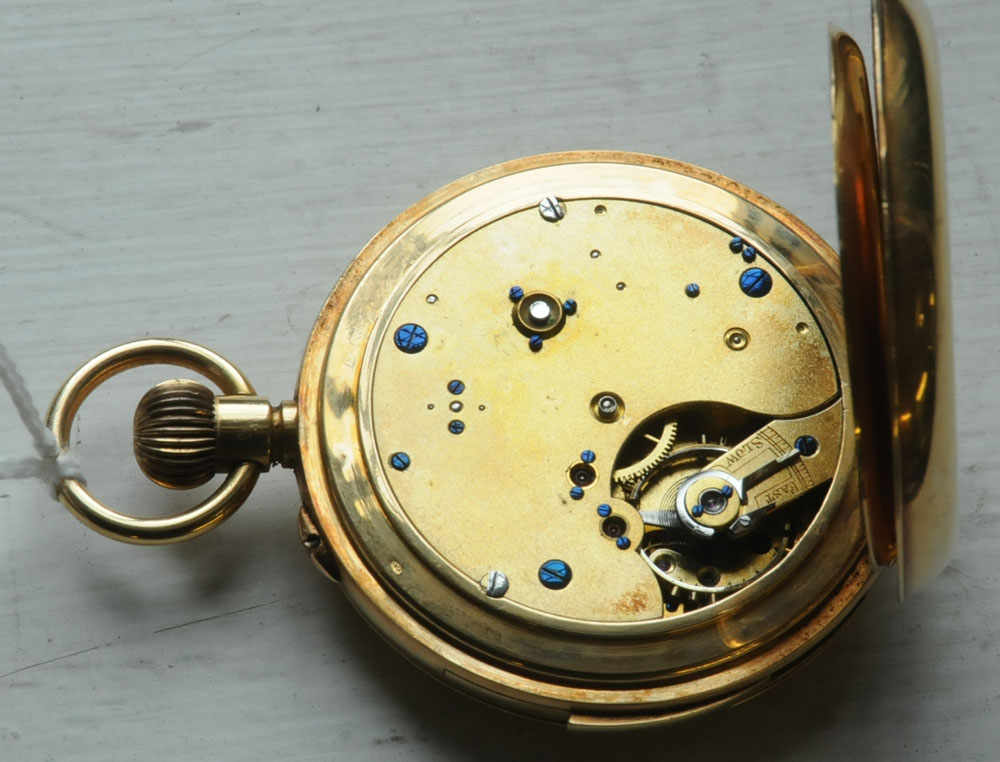 An early 20th century Swiss 18 ct gold keyless lever full hunting cased minute repeat chronograph - Image 2 of 3