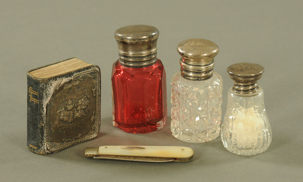 A Victorian silver mounted ruby cut glass scent bottle, 6.