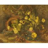 Frederick Stanier, oil on canvas, still life of birds nest and spring flowers.
