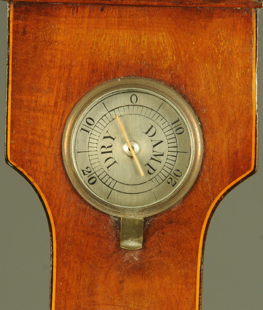 """A 19th century inlaid mahogany banjo barometer, """"Warranted Direct"""". Height 98 cm. - Image 2 of 5"""
