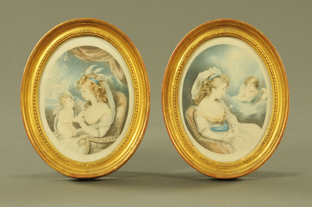 A pair of 19th century oval mezzotints after C. Knight, Cupid and Lover.