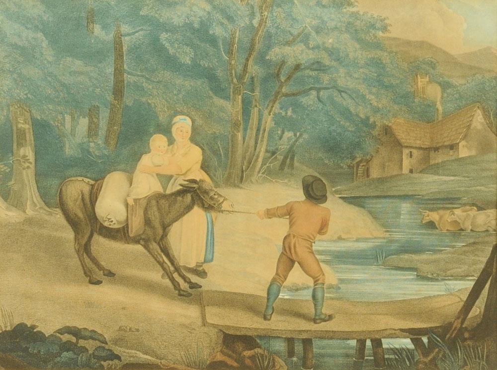 "After Richard Westal, a 19th century engraving ""Stubborn Donkey"". 39 cm x 51 cm, framed."
