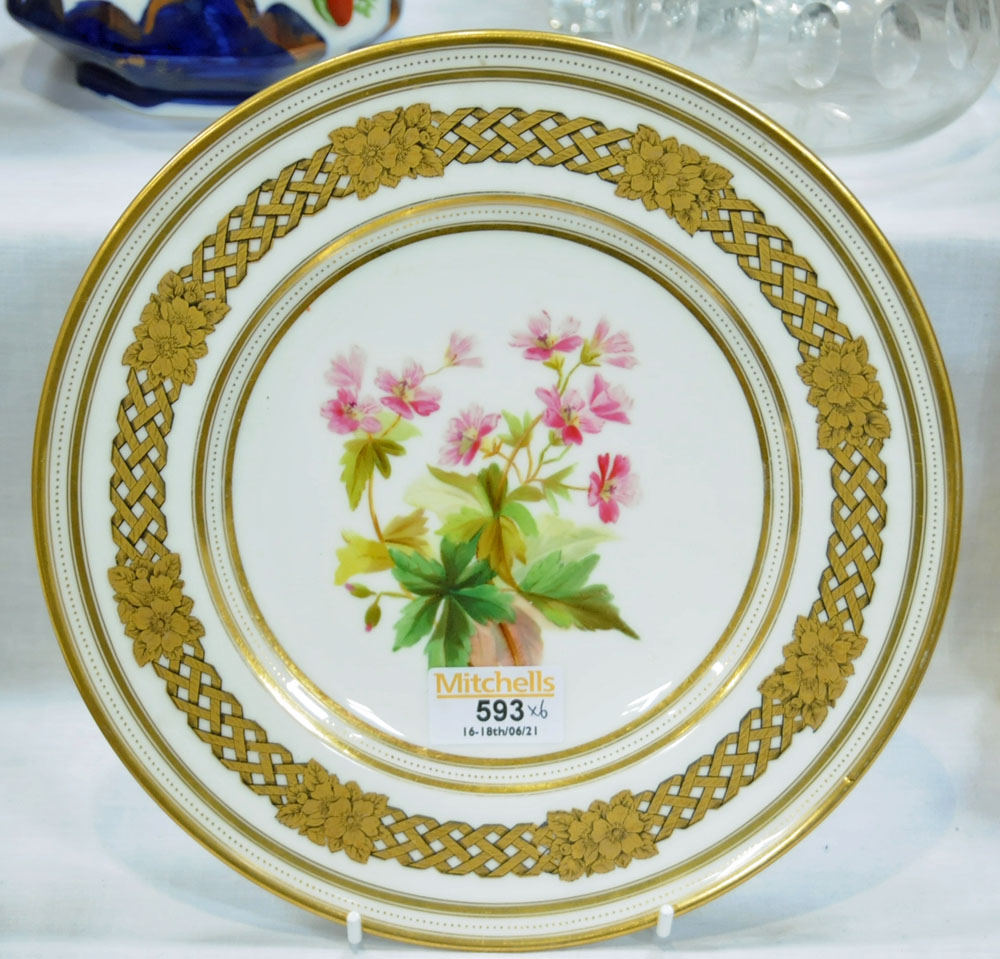 A collection of six 19th century hand painted cabinet plates, one bearing lozenge registration mark, - Image 2 of 15