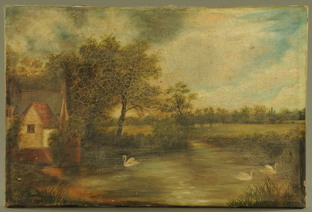 E O Fowler, oil painting, country river landscape with swans.