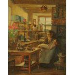 J Morton Dunlop, oil on canvas, lady reading in kitchen. 44 cm x 33 cm, framed, signed.