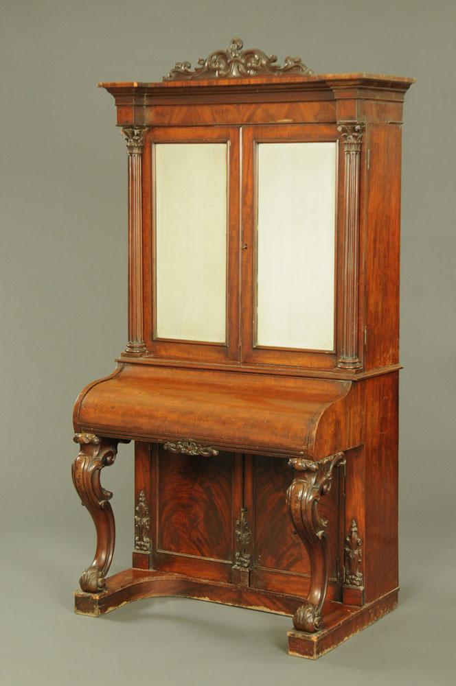 A Victorian mahogany piano front bookcase,