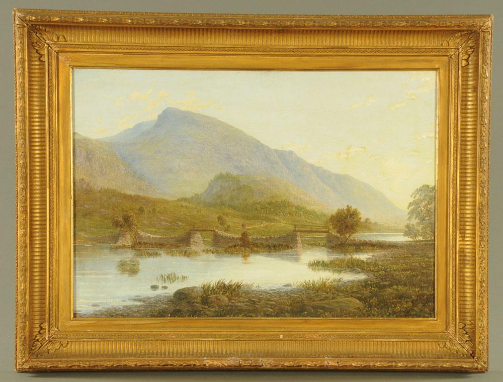 "William Taylor Longmire, oil on canvas ""The Footbridge Thirlmere Cumberland"". - Image 2 of 2"