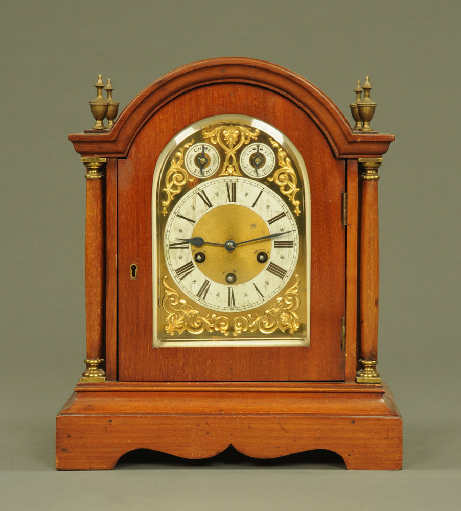 A 1920's mahogany bracket clock of 18th century design by Junghans,