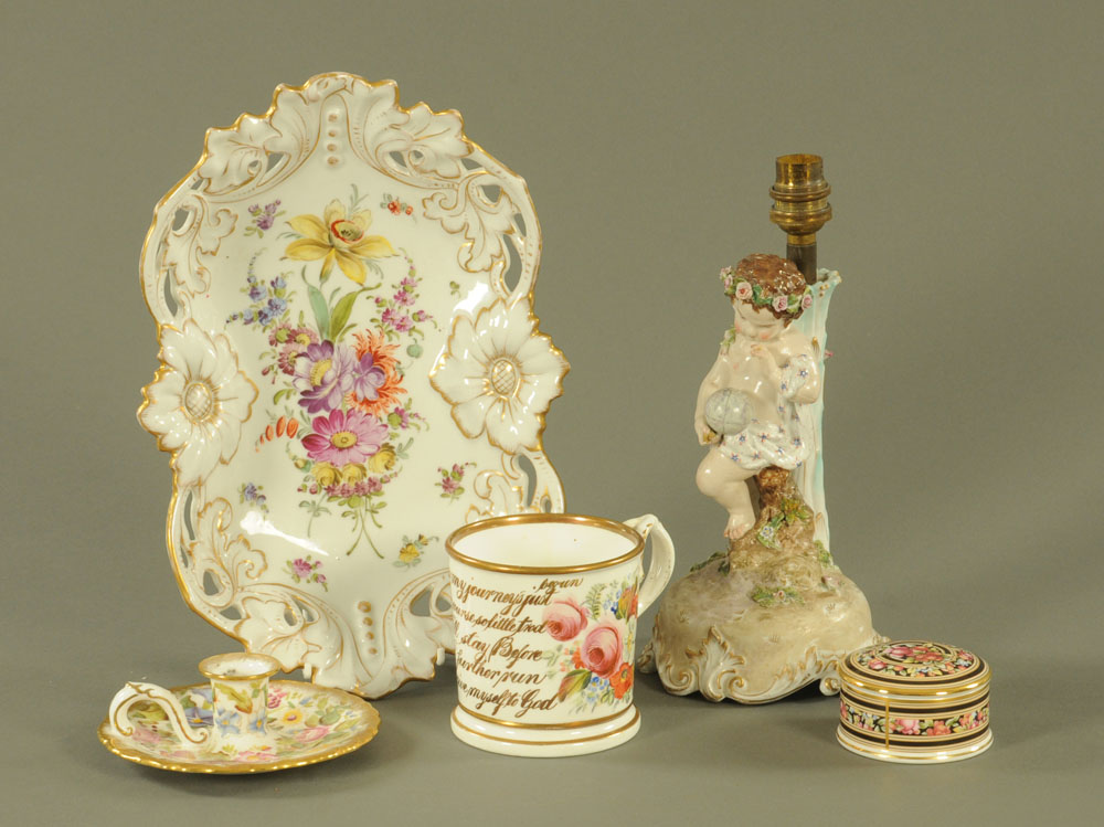 A continental porcelain pierced fruit dish, hand decorated with flowers. Length 32.