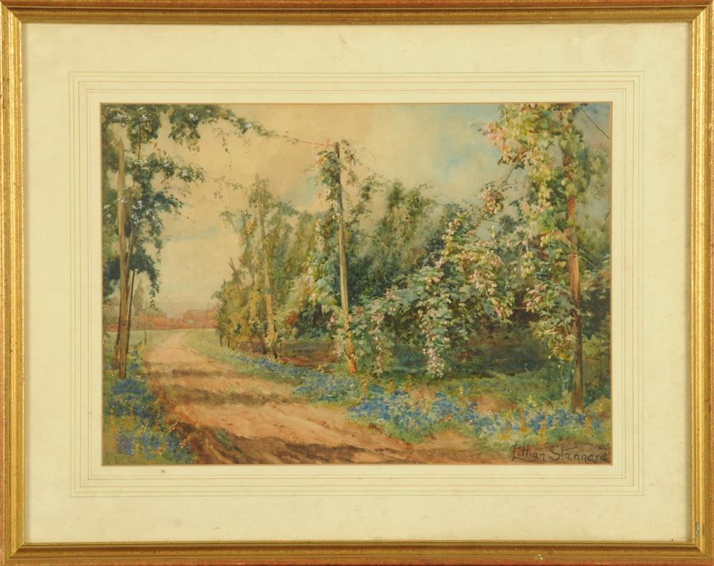 Lilian Stannard (1877-1944), a watercolour country lane. 33 cm x 46 cm, framed, signed. - Image 2 of 2