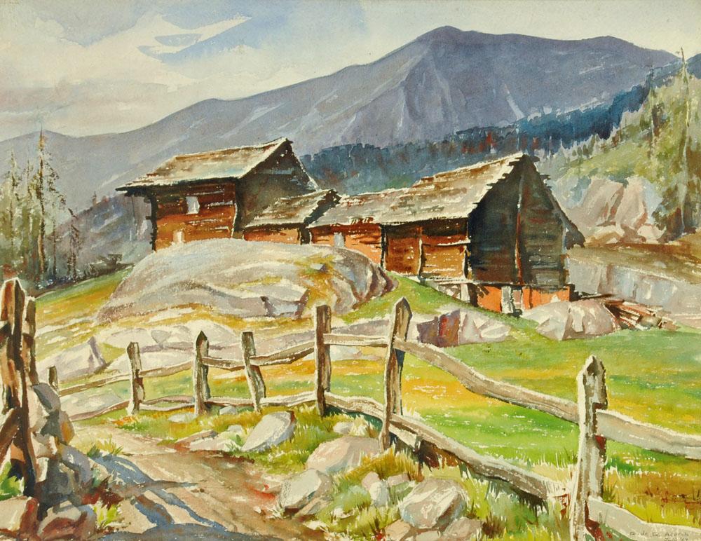 Geraldine de Gautiere Acomb (Anglo American), watercolour, mountain landscape.