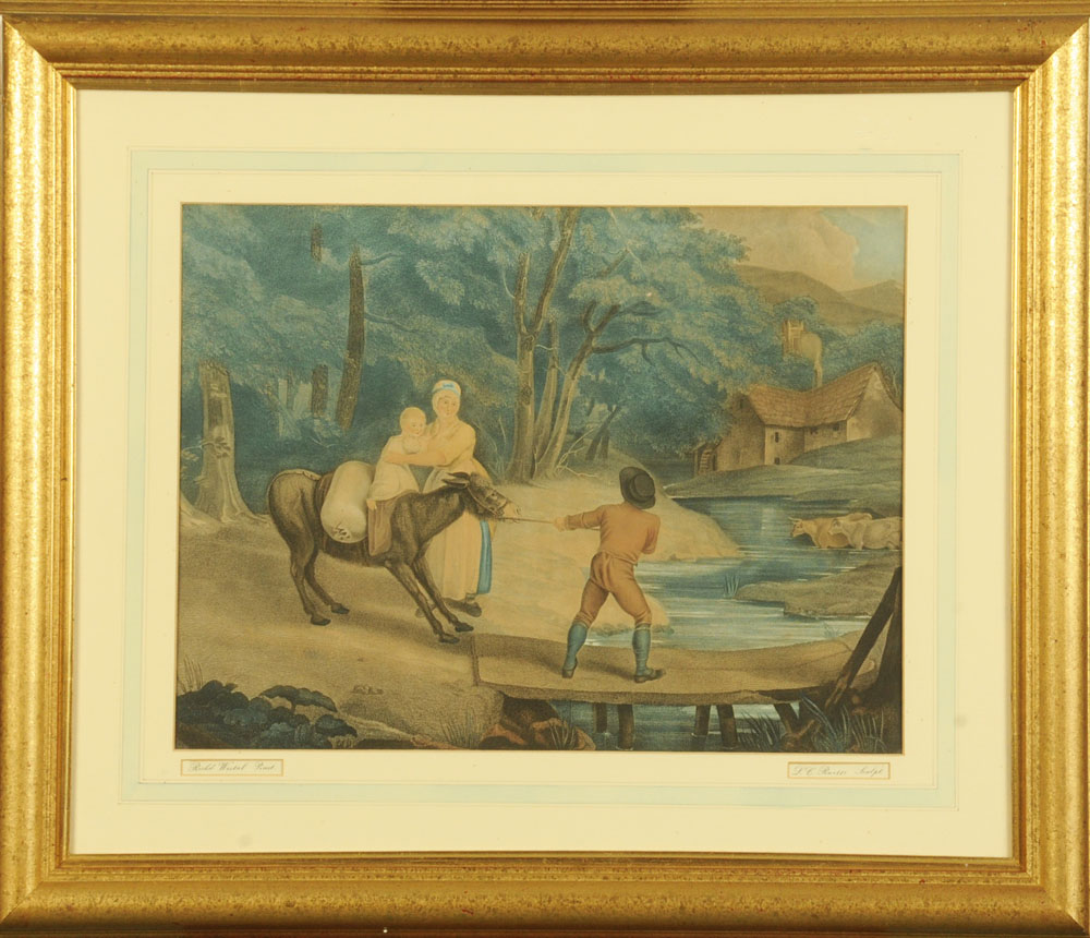 """After Richard Westal, a 19th century engraving """"Stubborn Donkey"""". 39 cm x 51 cm, framed. - Image 2 of 2"""