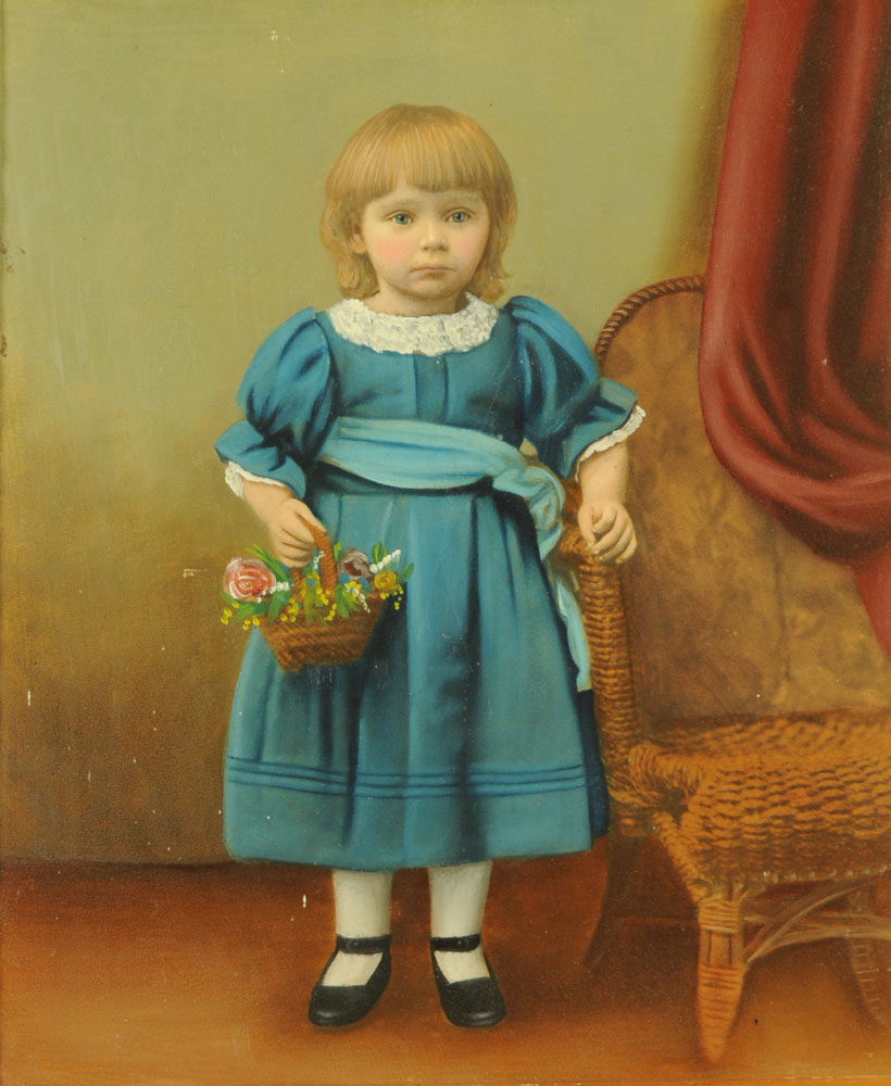 A 19th century oil painting of a young child with basket of flowers. 32 cm x 26 cm, framed.