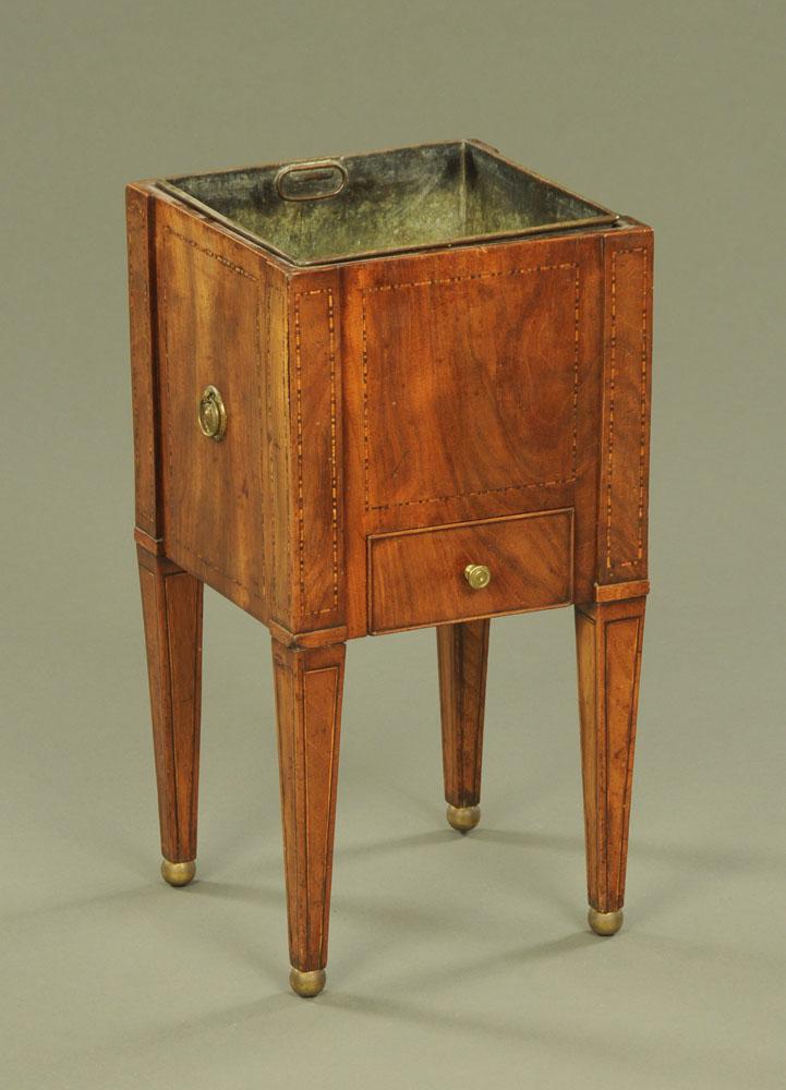 A 19th century inlaid mahogany square coal receiver of Dutch design,