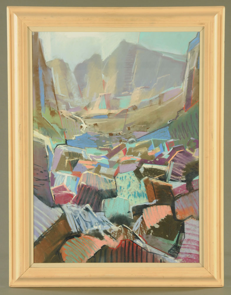 Christopher Assheton-Stones (1947-1999), a pastel of a mountain pass, 74 cm x 51 cm, framed. - Image 2 of 2