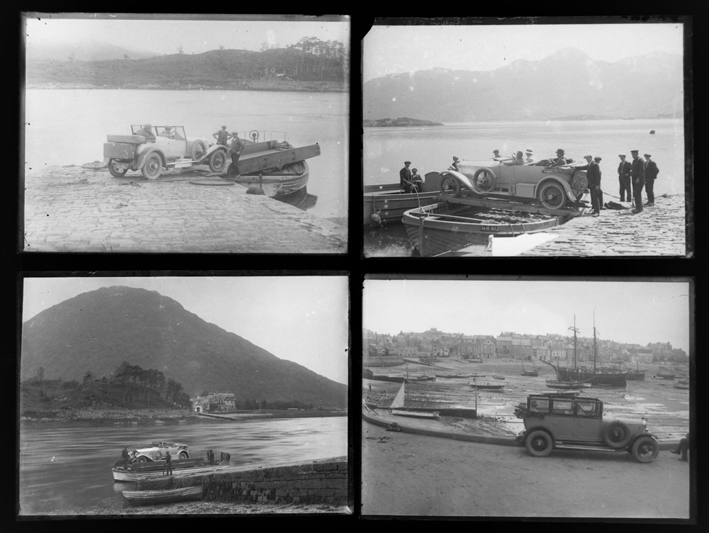 Early 20th century photographic glass half and full plates, depicting vintage cars on tour, - Image 4 of 10
