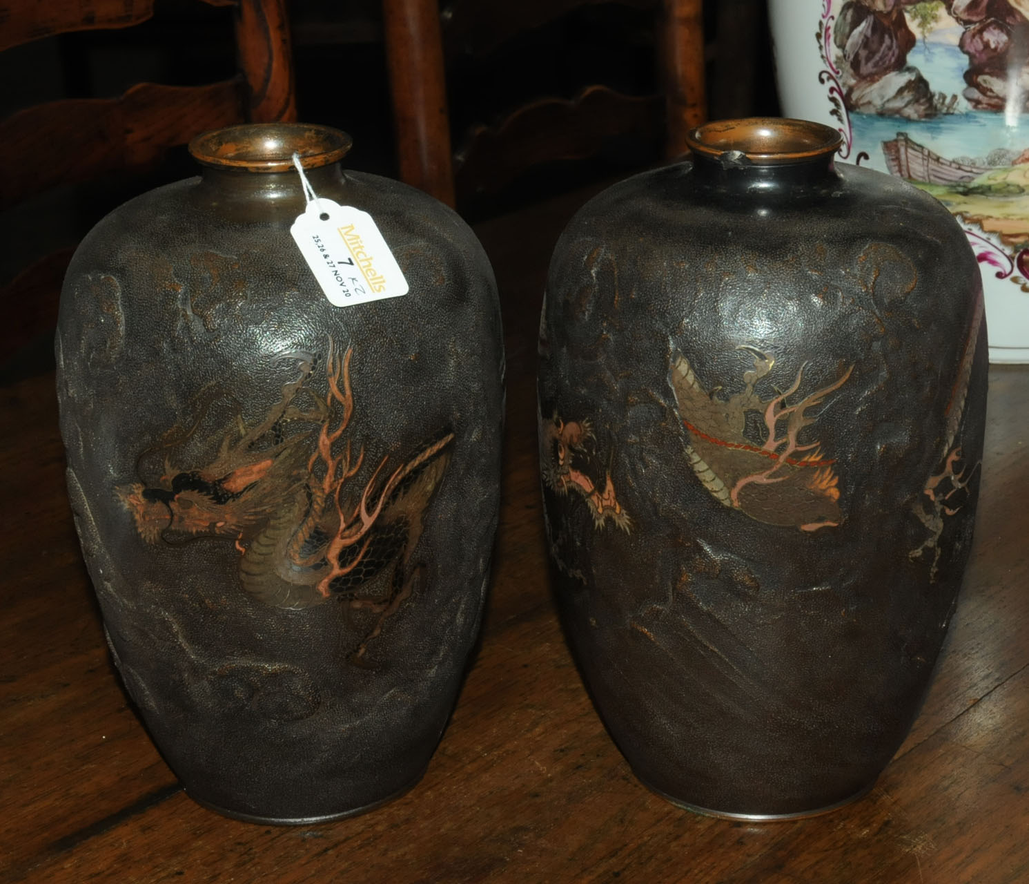 A pair of Japanese bronze vases, decorated with chasing dragons. Height 26 cm. - Image 2 of 11
