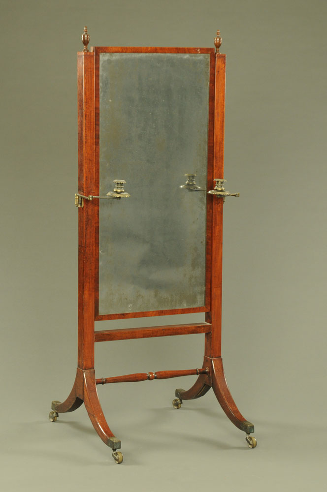 A George II mahogany rectangular cheval mirror,