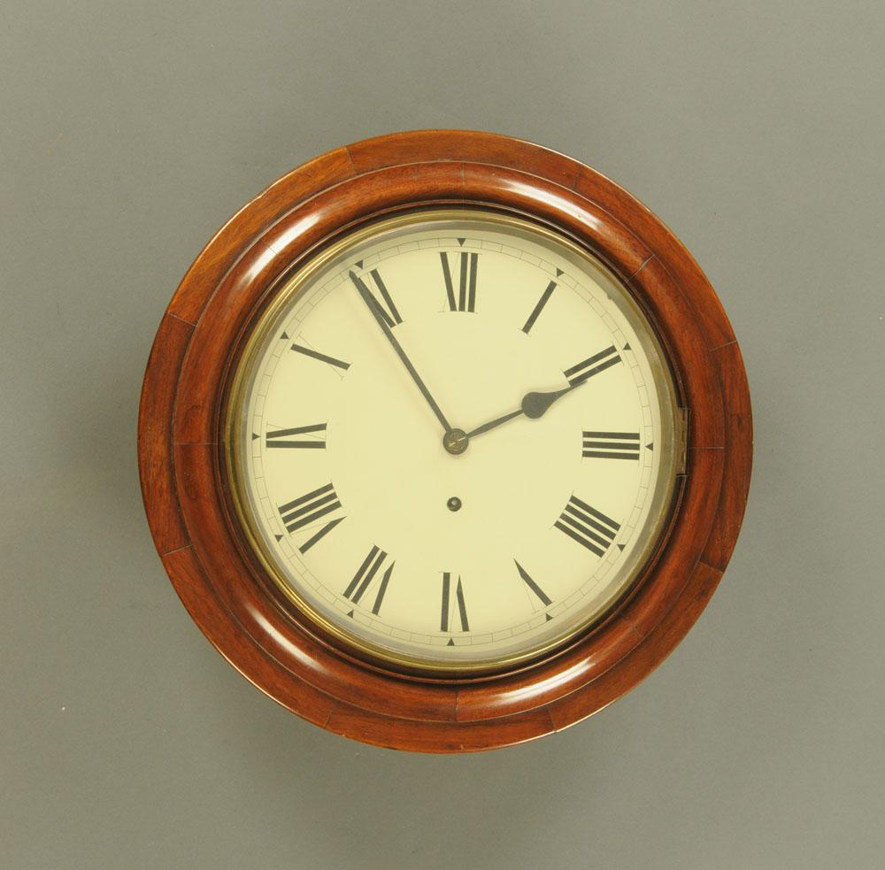 A Victorian mahogany cased dial wall clock,