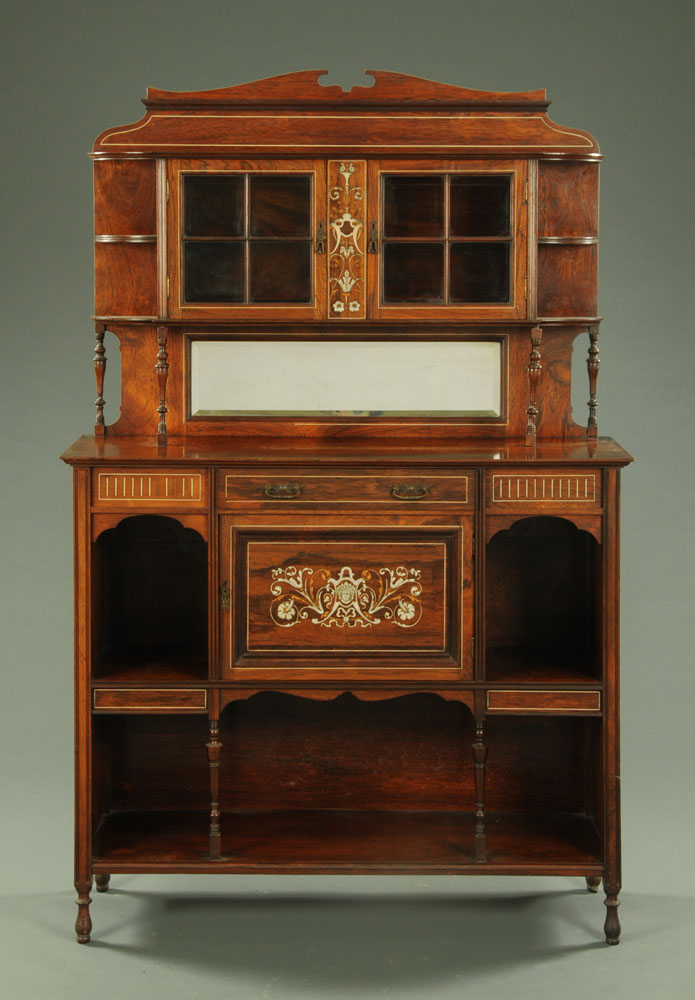 An Edwardian inlaid rosewood side cabinet, with a shelf and mirror back,