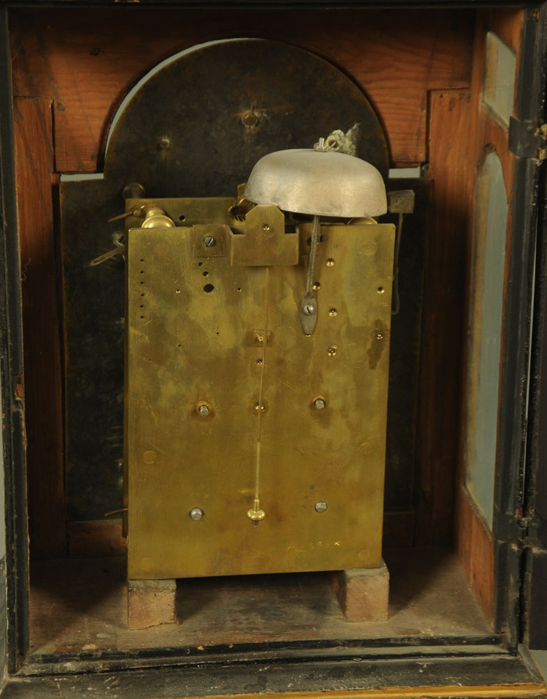 A black and gilt painted bracket clock, - Image 2 of 5