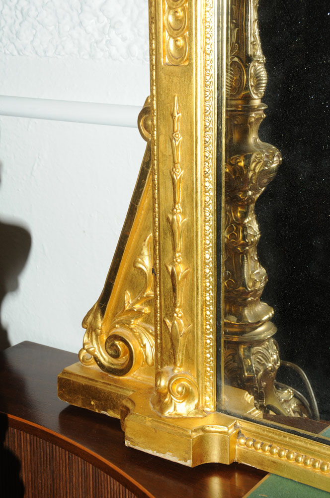 A large late 19th century gilt wood overmantle mirror, with moulded cornice and leaf, - Image 6 of 6