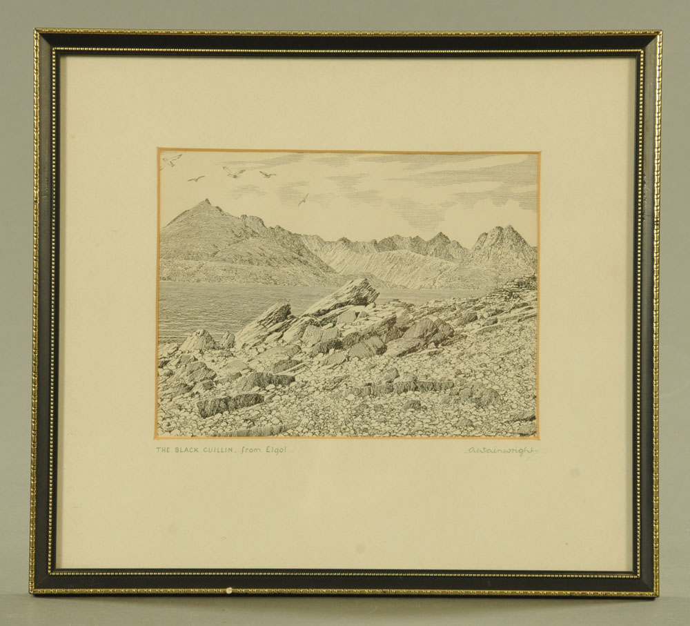 """Alfred Wainwright (1907-1991), an original pen and ink drawing """"The Black Cuillin from Elgol"""", - Image 2 of 2"""