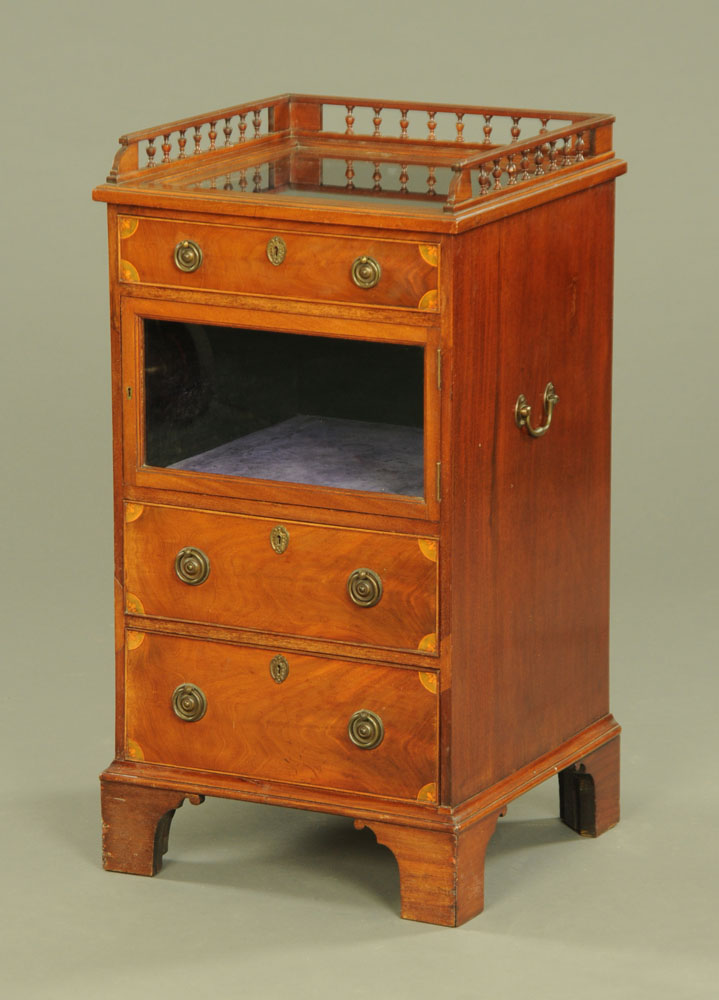 An Edwardian inlaid mahogany bijouterie side cabinet, with spindled gallery,