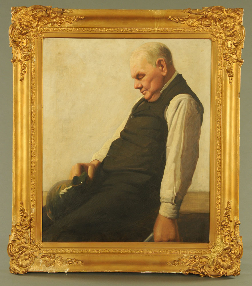 Late 19th/early 20th century Scottish School, oil painting on canvas, portrait of a butler. - Image 2 of 3