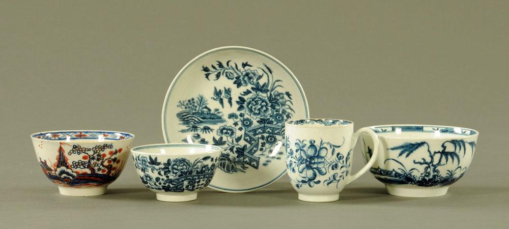 A Liverpool Pennington tea bowl, a Worcester Fence pattern saucer,