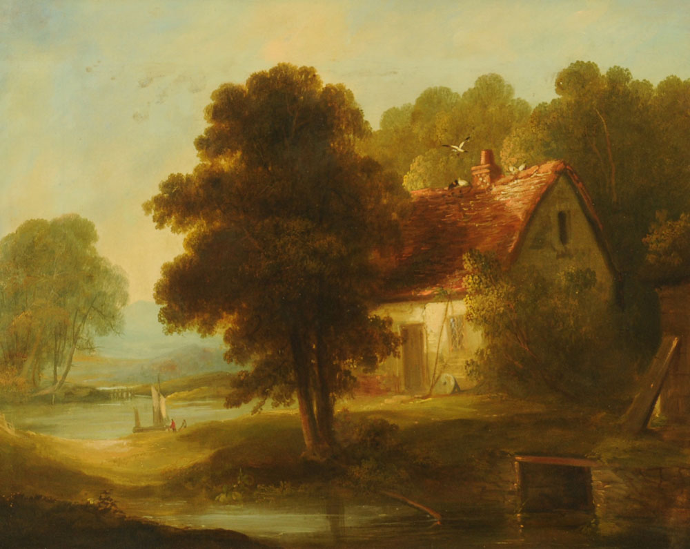 19th century English School oil painting on canvas, mill cottage and lake scene.