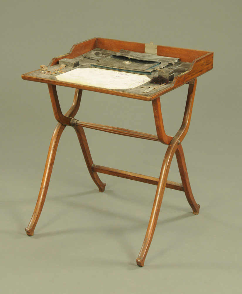 A Victorian Campaign type folding desk, with fitted leather interior. Width 62 cm. - Image 2 of 2