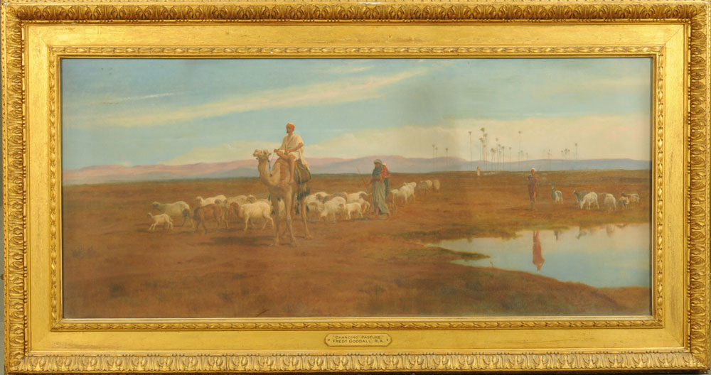 """Frederick Goodall (RA 1822-1904), a large oil painting on canvas """"Changing Pasture"""", - Image 2 of 7"""