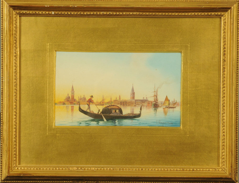 Umberto Ongania (Venetian School), watercolour, Grand Canal Venice scene with gondolier. - Image 2 of 2