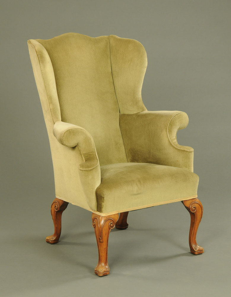 A Queen Anne style wing armchair,