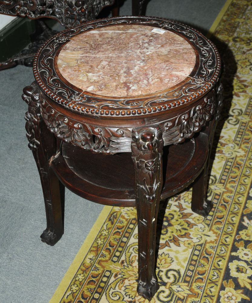 A 19th century Chinese hardwood rouge marble topped jardiniere stand, - Image 3 of 7