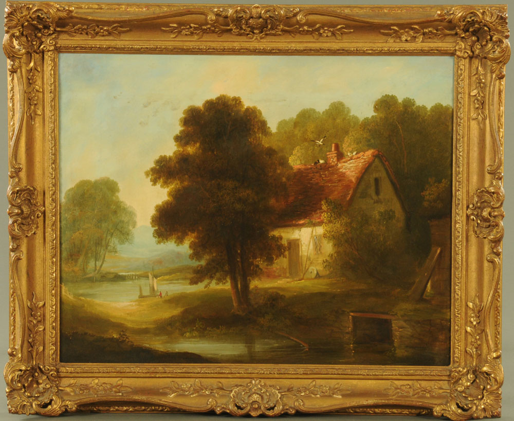 19th century English School oil painting on canvas, mill cottage and lake scene. - Image 2 of 2