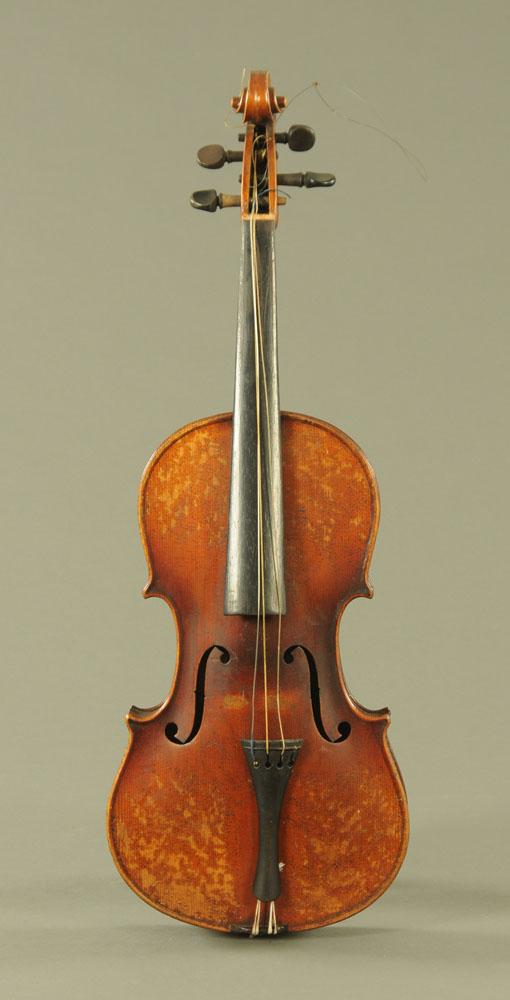 A 19th century violin, with paper label Conzert-Violin Stradiuarius Cremonensis Faciebat AO.17. - Image 2 of 16