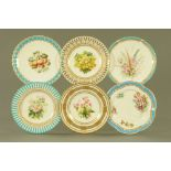 A collection of six 19th century hand painted cabinet plates, one bearing lozenge registration mark,