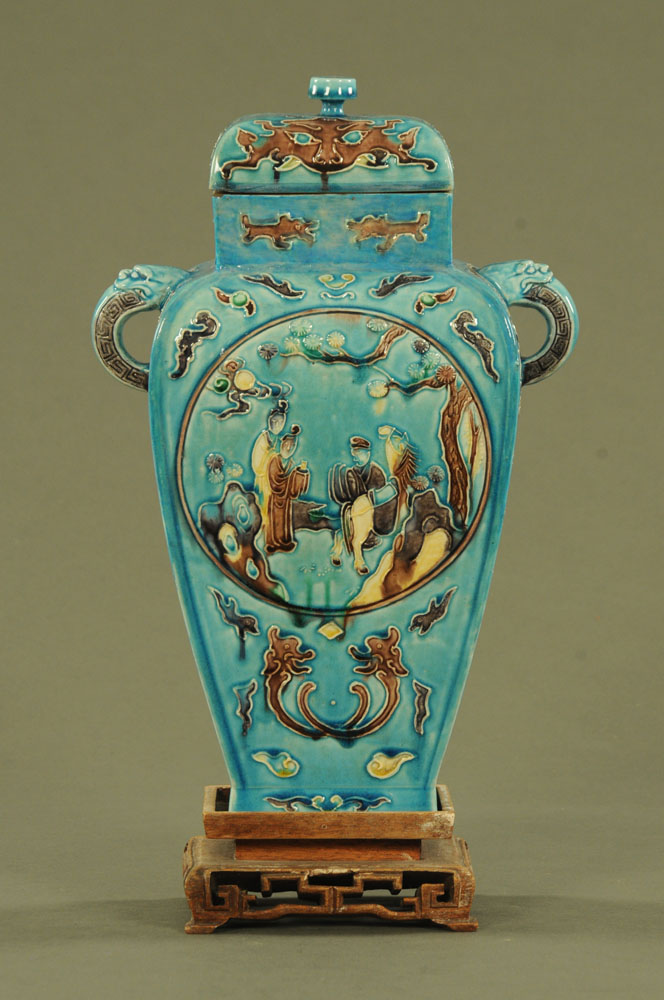 A Chinese archaic vase and cover on a wooden stand. Six character mark to base. - Image 2 of 17