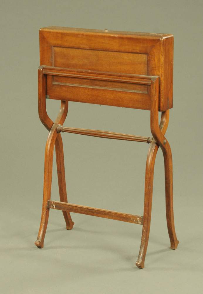 A Victorian Campaign type folding desk, with fitted leather interior. Width 62 cm.