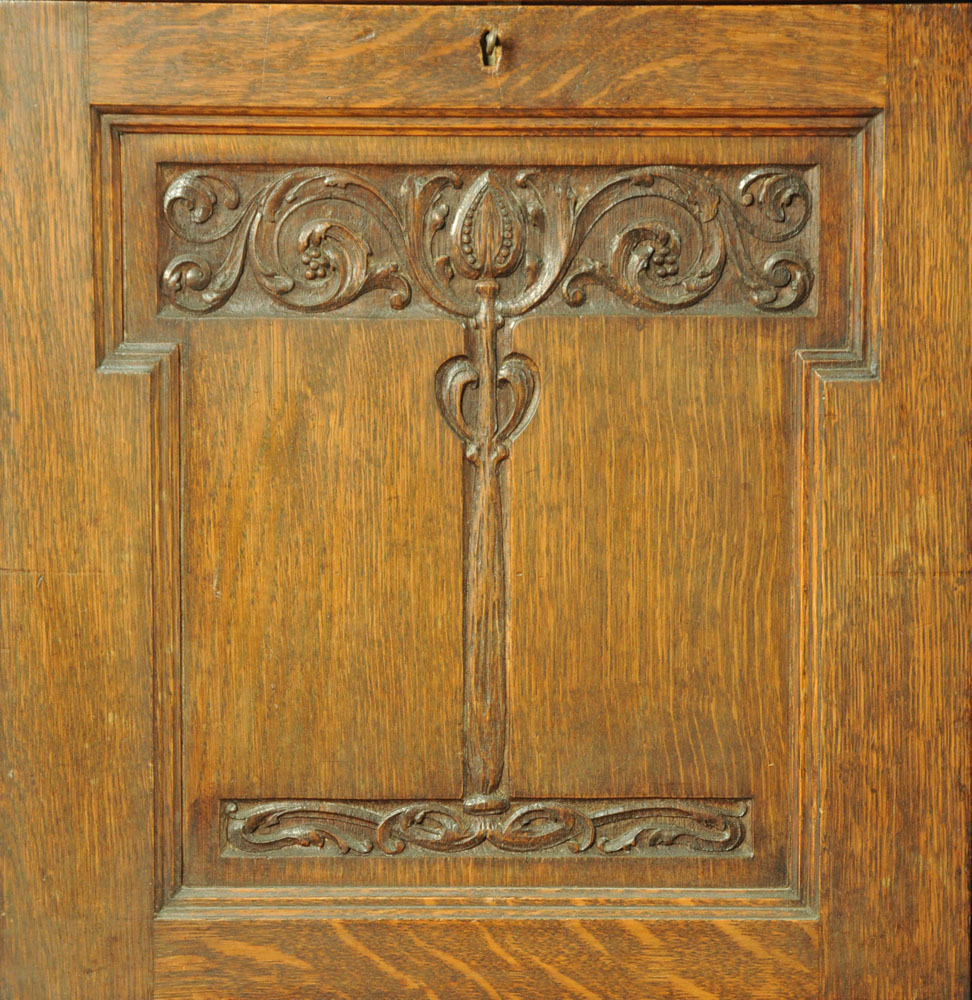 A late 19th / early 20th century Art Nouveau oak secretaire cabinet, with a series of shelves, - Image 3 of 4