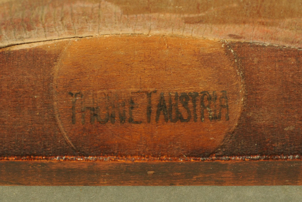 A Set of three 1920's laminated stained beech wood office armchairs by Thonet with labels to - Image 2 of 2