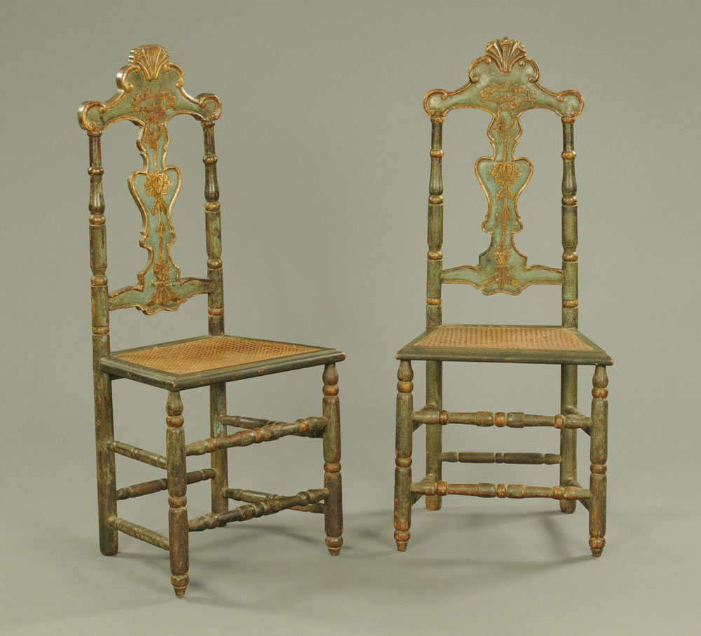A pair of 18th century continental painted side chairs,