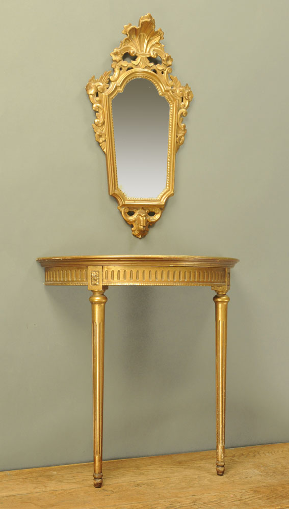A gilt painted console table,