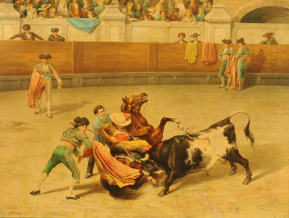 After J Chavez, an oleograph of a bullfight, 47 cm x 62 cm, framed.
