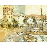 Bernard Dufour (1922-2016), oil painting, harbour scene. Canvas 35.